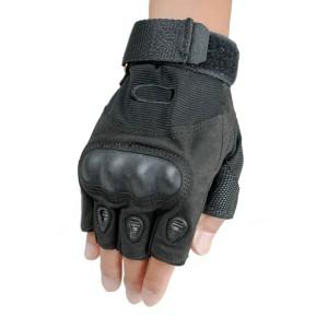 Black Tactical Fingerless Gloves